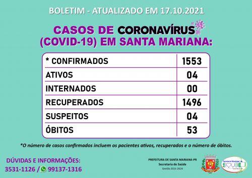 BOLETIM CORONAVÍRUS - 17.10.2021