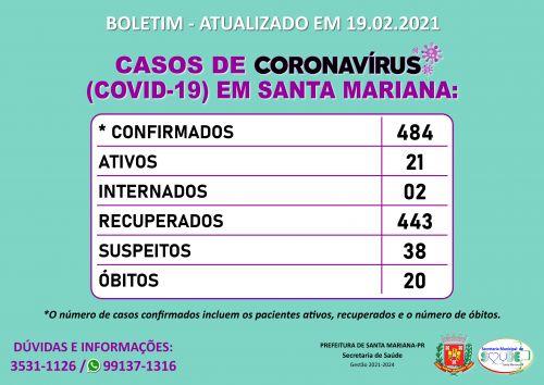 BOLETIM CORONAVÍRUS - 19.02.2021