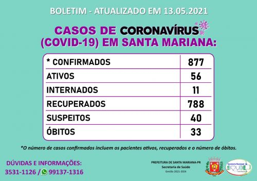BOLETIM CORONAVÍRUS - 13.05.2021