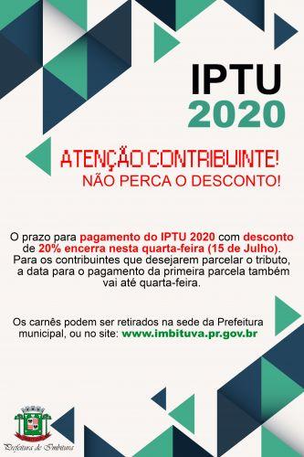 IPTU 2020: Atenção contribuinte, não perca o desconto!