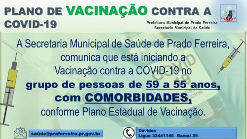 VACINAÇÃO GRUPO DE PESSOAS COM 59 A 55 ANOS, COM COMORBIDADES,