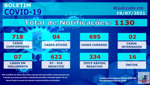 Ducentésimo Vigésimo Décimo Terceiro Boletim Epidemiológico COVID-19 (19/07/2021)