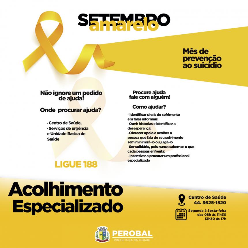 SETEMBRO AMARELO - Mês de Prevenção ao Suicido