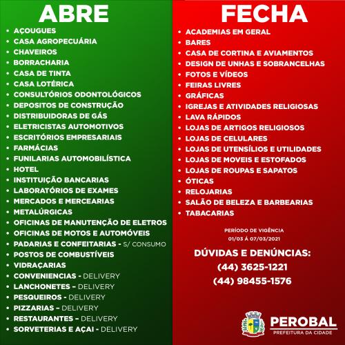 Perobal acata na integra o decreto nº 6.983/2021 do Governo do Estado do Paraná
