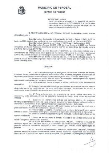 DECRETO 014 2020 PREVENÇÃO COVID - 19