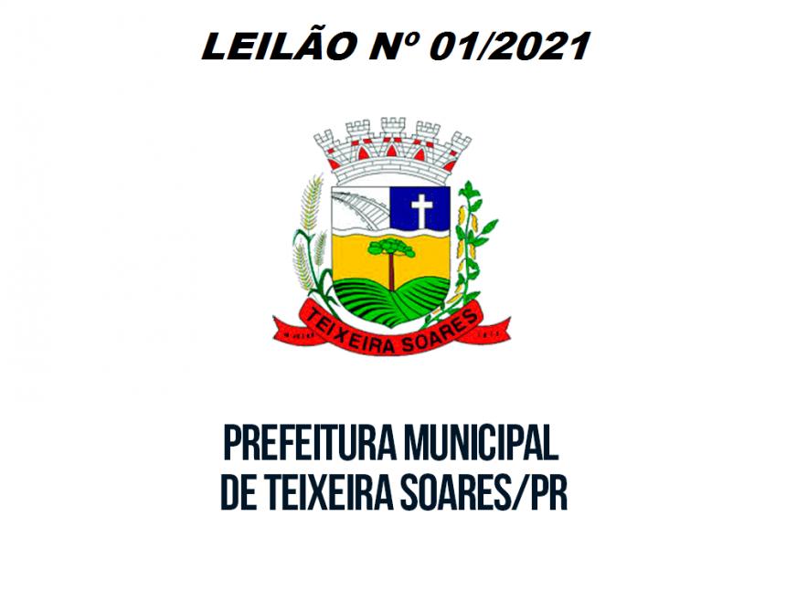AVISO DE LICITAÇÃO LEILÃO Nº 01/2021