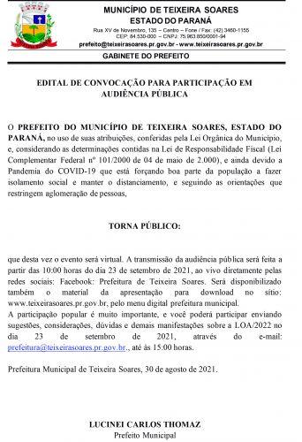 LOA 2021 Ao vivo  pelo Facebook da Prefeitura de Teixeira Soares
