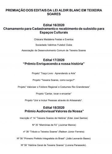 Resultado do Edital dos Prêmios da Lei Aldir Blanc Realizado no Município de Teixeira Soares