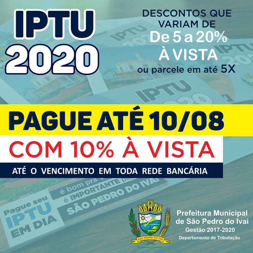IPTU com 10% pode ser pago até 10 de agosto