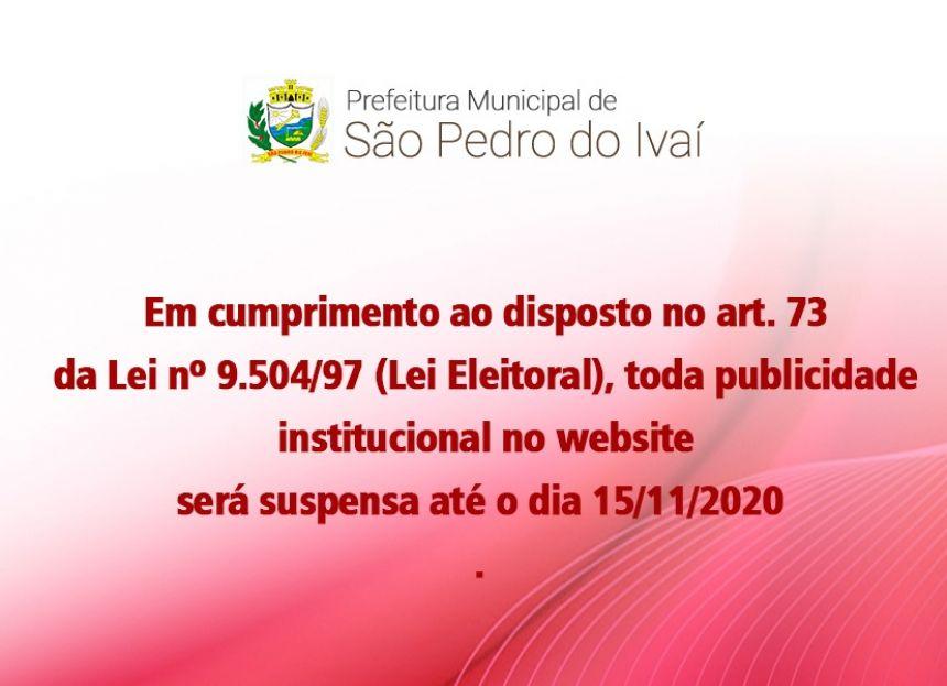 Prefeitura suspende publicações institucionais no site e redes sociais durante período eleitoral