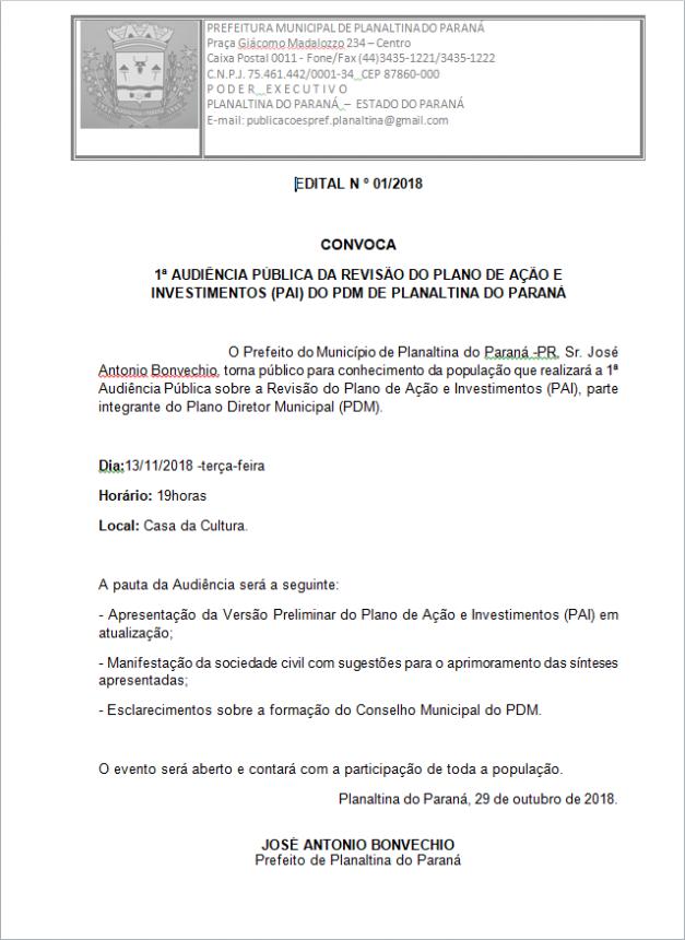1ª Audiência Pública da revisão do Plano de Ação e Investimentos (PAI) do PDM de Planaltina Do Paraná