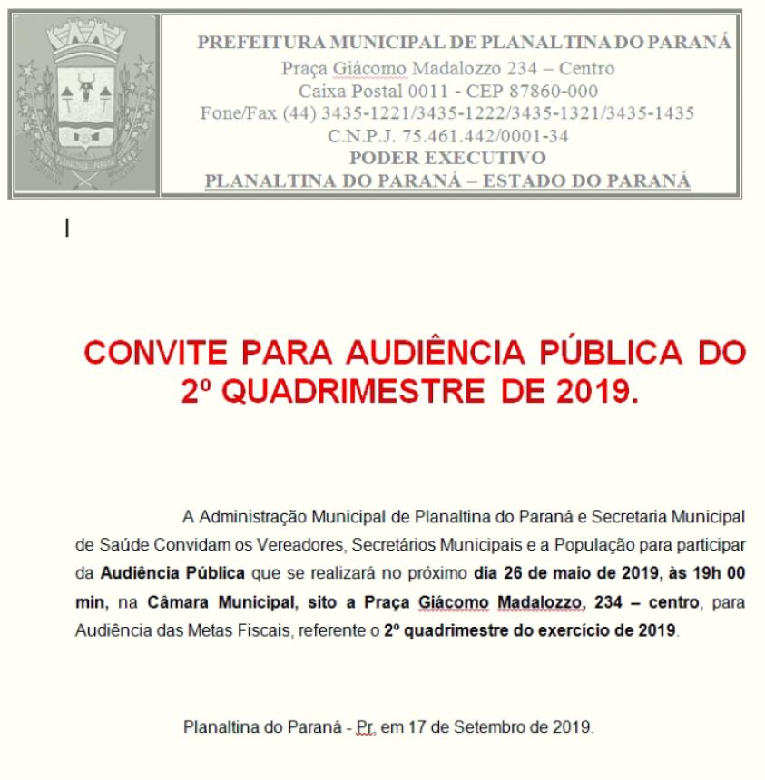 CONVITE AUDIÊNCIA PÚBLICA 2 º QUADRIMESTRE 2019