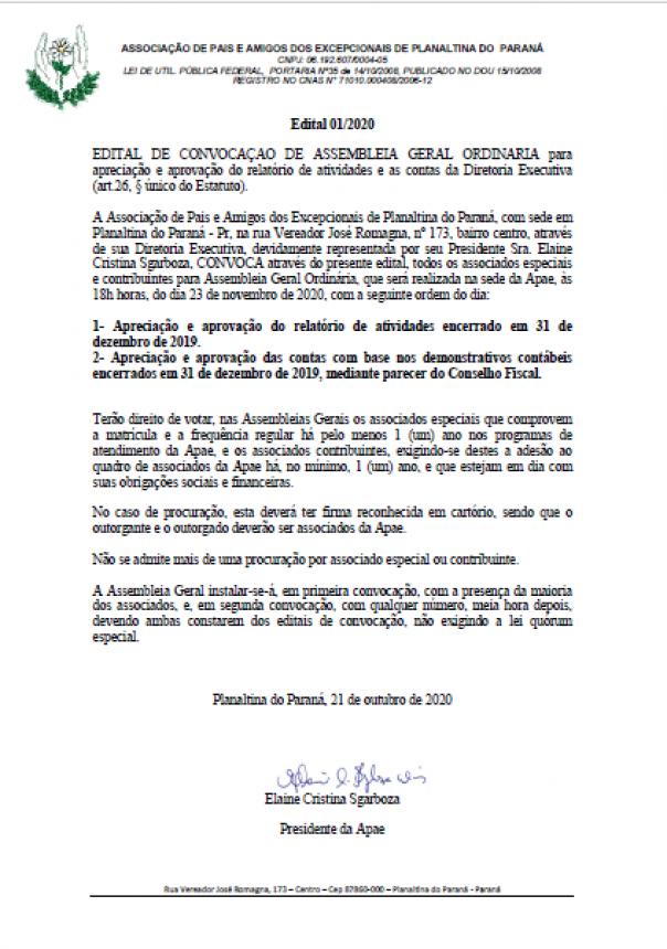 APAE - EDITAL DE CONVOCAÇÃO DE ASSEMBLEIA GERAL ORDINÁRIA