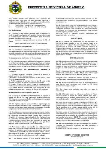 Prefeitura disponibiliza o decreto n. 22/2021 que dispõe sobre adoção de novas medidas para o enfrentamento da pandemia decorrente do Coronavírus (Covid-19) no município de Ângulo
