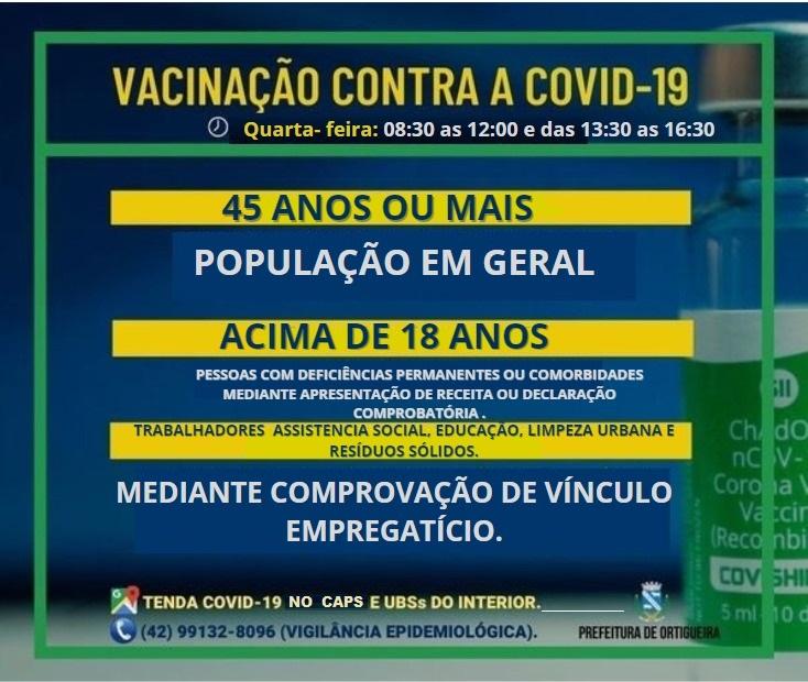 ATENÇÃO PARA OS GRUPOS VACINADOS CONTRA COVID-19