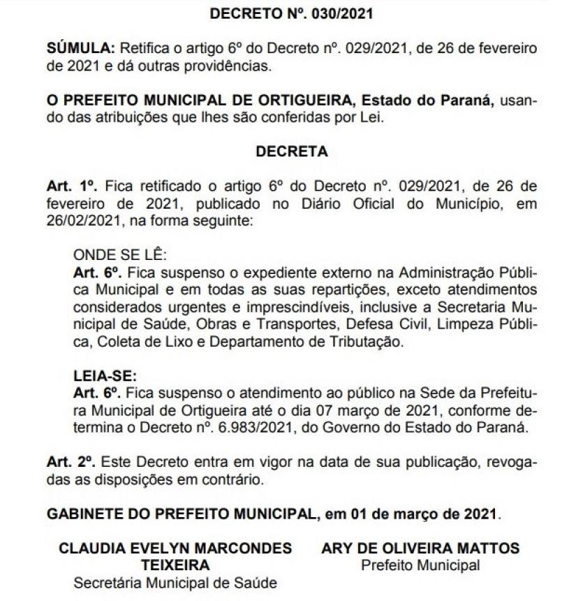 Novo decreto mantém trabalho interno apenas para a sede da Prefeitura