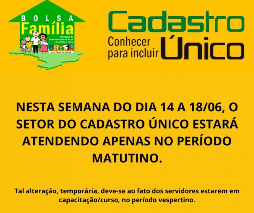 HORÁRIO DE ATENDIMENTO PARA CAD-ÚNICO DE 14 A 18 DE JUNHO