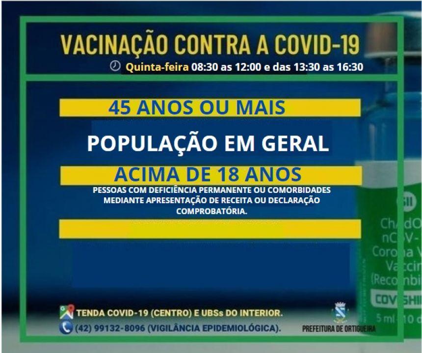 ATENÇÃO PARA OS GRUPOS VACINADOS CONTRA COVID-19 NESTA QUINTA-FEIRA