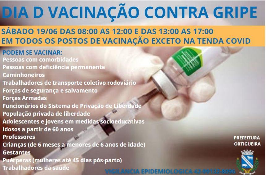PREFEITURA DE ORTIGUEIRA PROMOVE DIA D PARA VACINAÇÃO CONTRA GRIPE