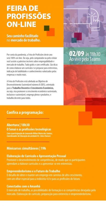 AGENCIA DO TRABALHADOR DE ORTIGUEIRA REALIZA FEIRA DE PROFISSÕES ON LINE EM PARCERIA COM O SISTEMA FIEP