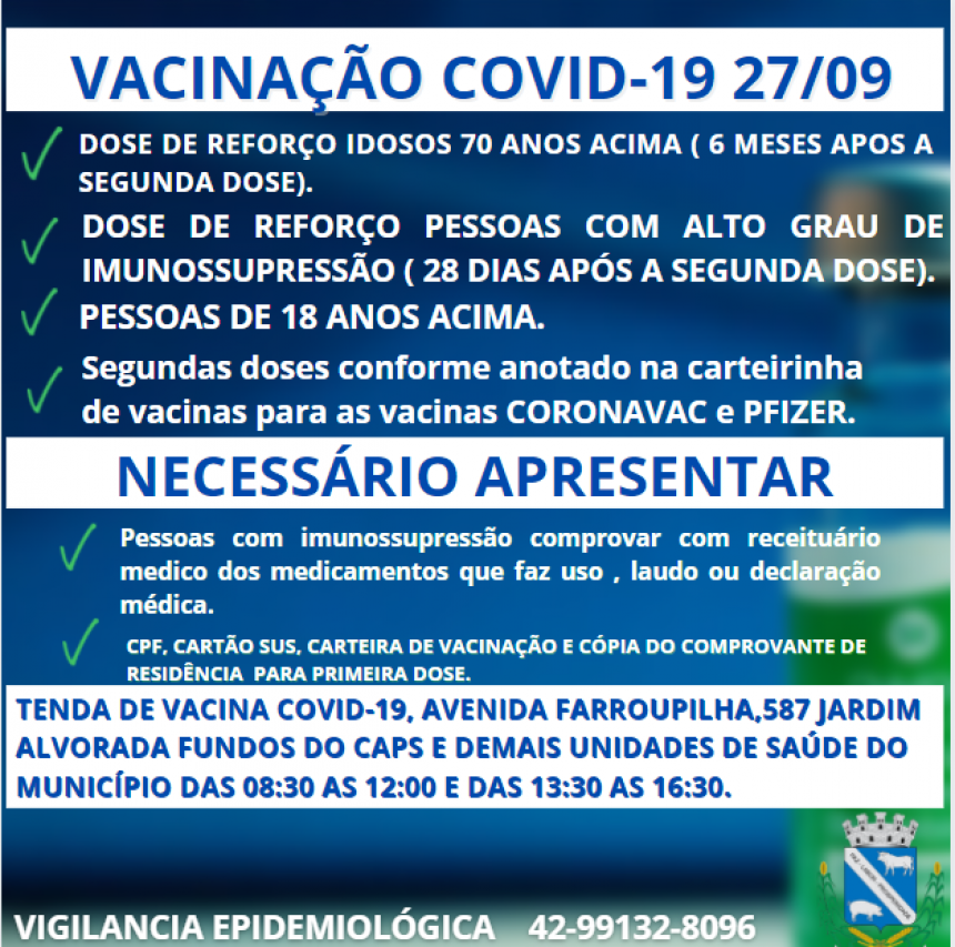 ATENÇÃO PARA VACINAÇÃO COVID-19 27/09