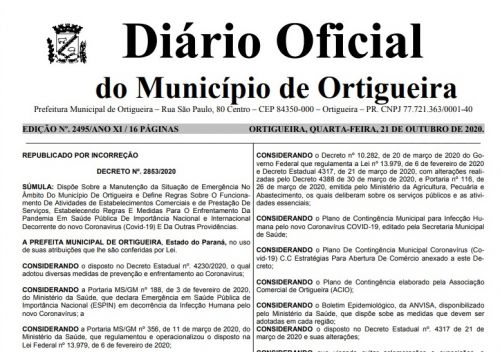 Prefeitura publica errata do Decreto Municipal 2853/2020