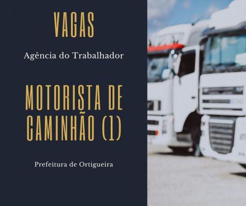 Agência do Trabalhador anuncia vaga para motorista de caminhão
