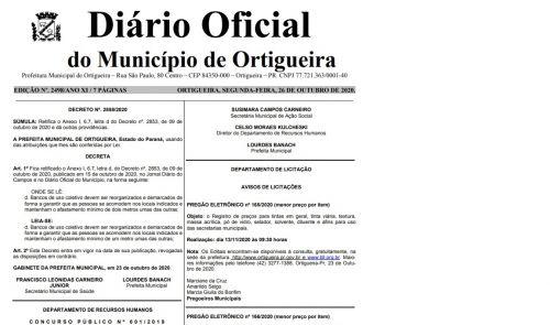 Prefeitura divulga nova errata do Decreto nº 2853/2020