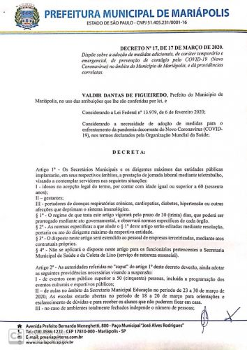 Prefeitura de Mariápolis realiza reunião para medidas protetivas contra o Coronavírus