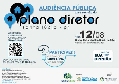 1ª Audiência Pública da revisão do Plano Diretor Municipal ocorrerá no dia 12 de agosto em Santa Lúcia