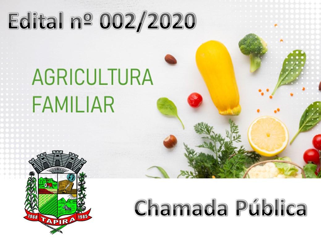 AVISO DE CHAMADA PÚBLICA Nº. 02/2020 - AGRICULTURA FAMILIAR