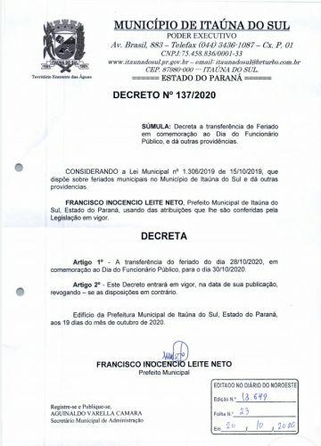 Feriado do Funcionalismo postergado para sexta-feira em Itaúna do Sul