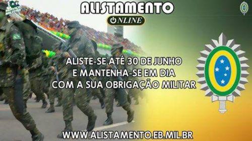 ALISTAMENTO MILITAR ONLINE ENCERRA-SE DIA 30 DE JUNHO