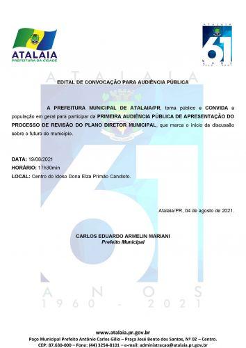 PRIMEIRA AUDI�NCIA P�BLICA DE APRESENTA��O DO PROCESSO DE REVIS�O DO PLANO DIRETOR MUNICIPAL