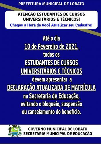 ATENÇÃO ESTUDANTES DE CURSOS UNIVERSITÁRIOS E TÉCNICOS !