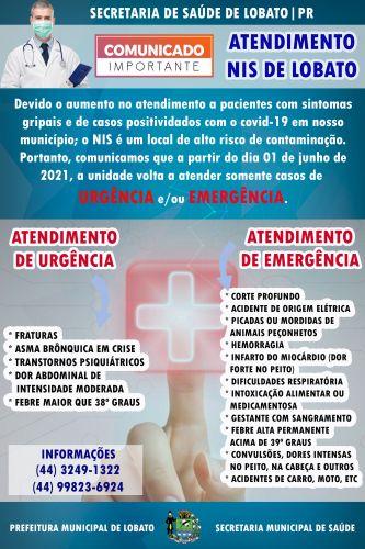 INFORMAÇÃO REFERENTE AO ATENDIMENTO MÉDICO NO NIS DE LOBATO