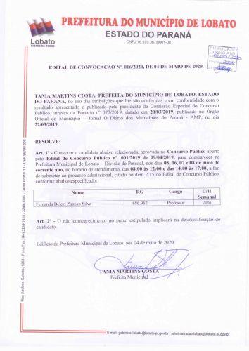 EDITAL DE CONVOCAÇÃO N 016/2020