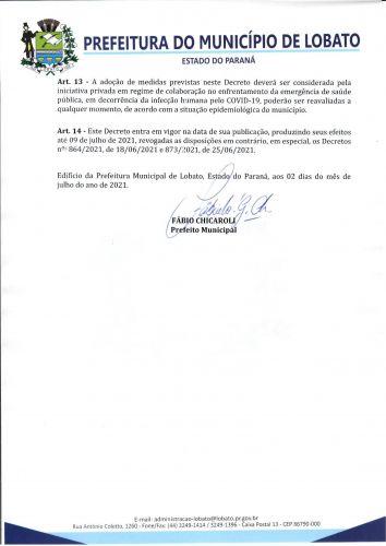DECRETO 879-2021, DE 02 DE JULHO DE 2021 NOVAS MEDIDAS COVID-19