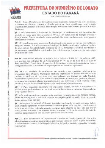 DECRETO N 670/2020, DE 08 DE OUTUBRO DE 2020