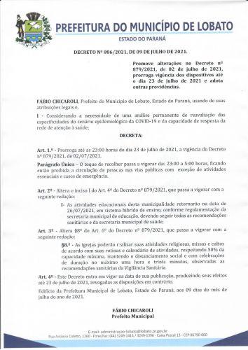 DECRETO 886-2021, DE 09 DE JULHO DE 2021 NOVAS MEDIDAS COVID-19