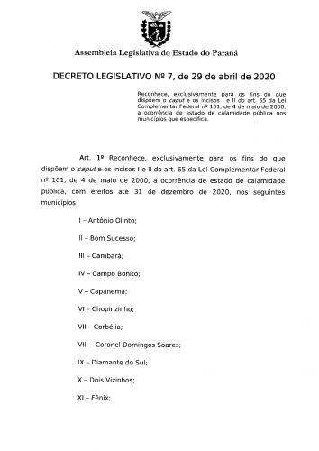 DECRETO LEGISLATIVO N 7 DE 29 DE ABRIL DE 2020