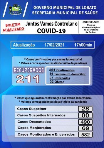 Atualização Covid-19 / 17/02/2021