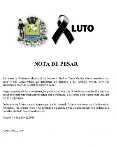 Nota de Pesar Sr. Antonio Moron