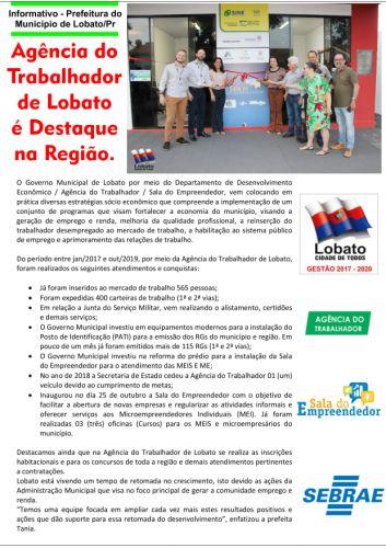 AGÊNCIA DO TRABALHADOR DE LOBATO É DESTAQUE NA REGIÃO.