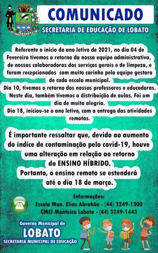 COMUNICADO - SECRETARIA DE EDUCAÇÃO DE LOBATO
