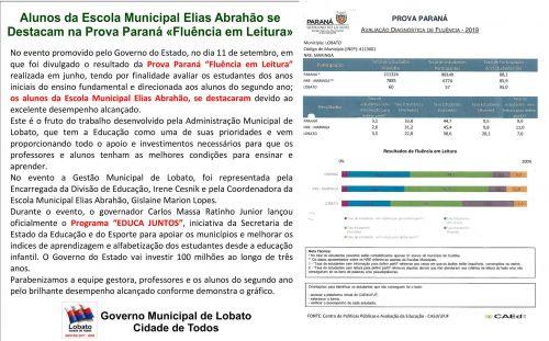 ALUNOS DA ESCOLA MUNICIPAL ELIAS ABRAHÃO SE DESTACAM NA PROVA PARANÁ