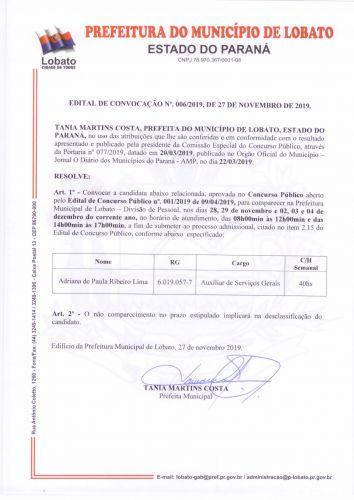 EDITAL DE CONVOCAÇÃO NÚMERO 006/2019