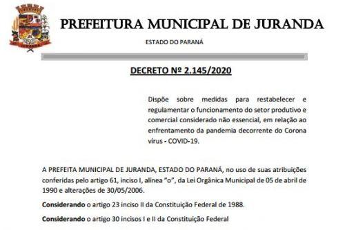 O município restabelece e regulamenta o funcionamento do setor produtivo e comercial considerado não essencial, em relação ao enfrentamento da pandemia decorrente do Corona vírus - COVID-19.