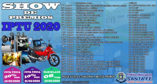 SHOW DE PRÊMIOS IPTU 2020
