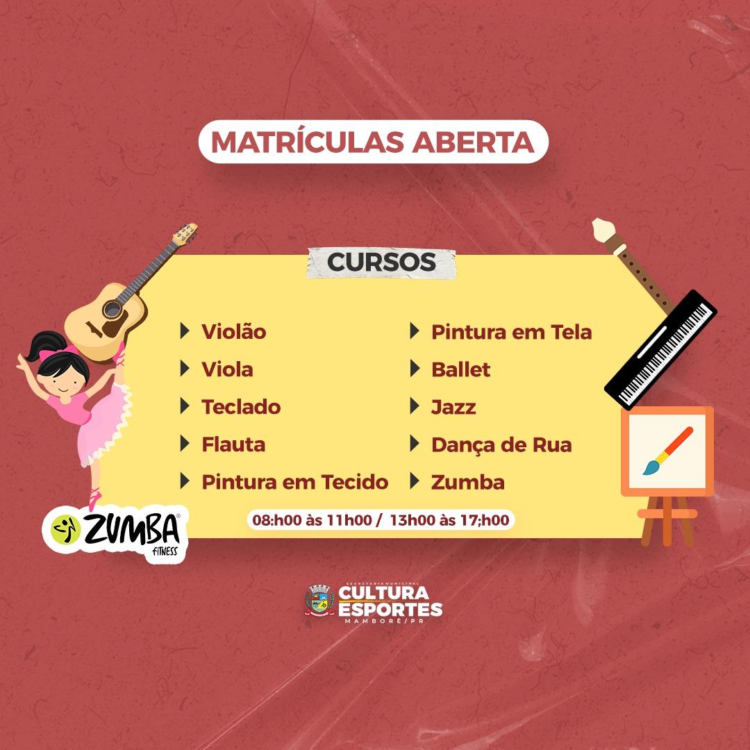 Estão abertas as inscrições para aulas e cursos no Centro Cultural de Mamborê